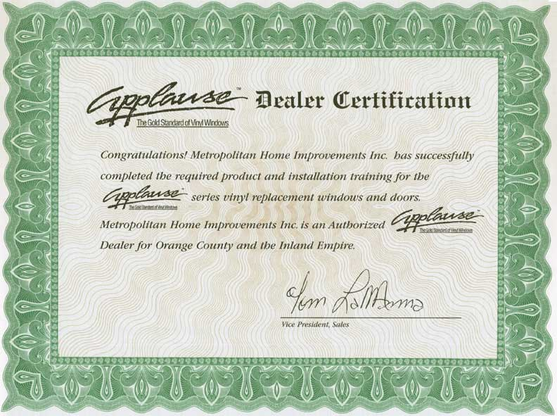 Applause Dealer Certification