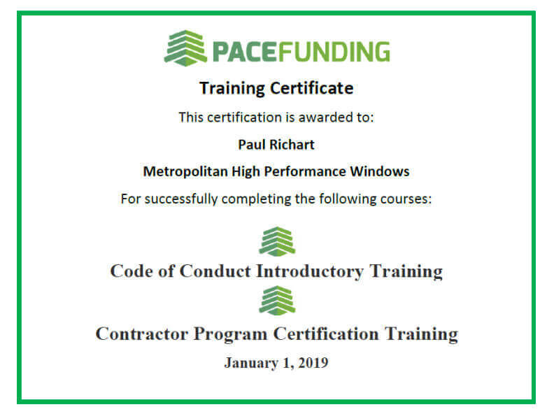 Certified by PACE Funding