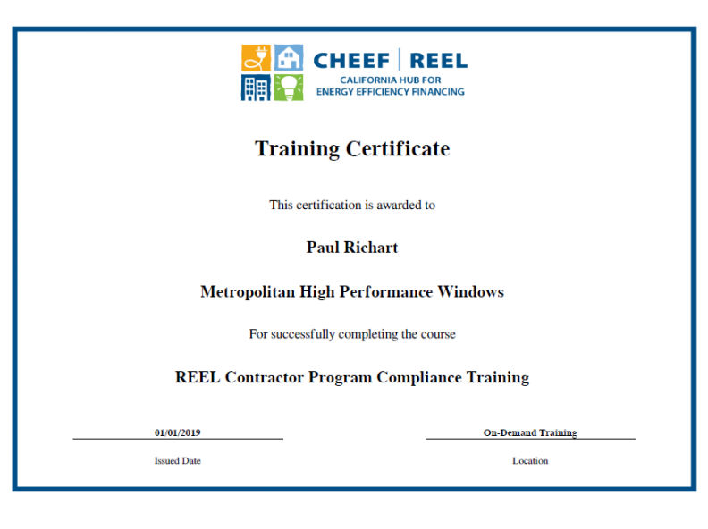 REEL Contractor Program Compliance