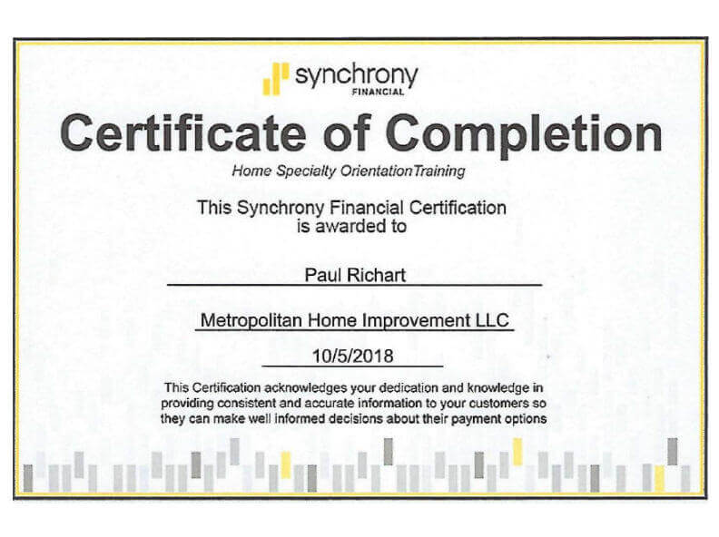 Certified by Synchrony Financial