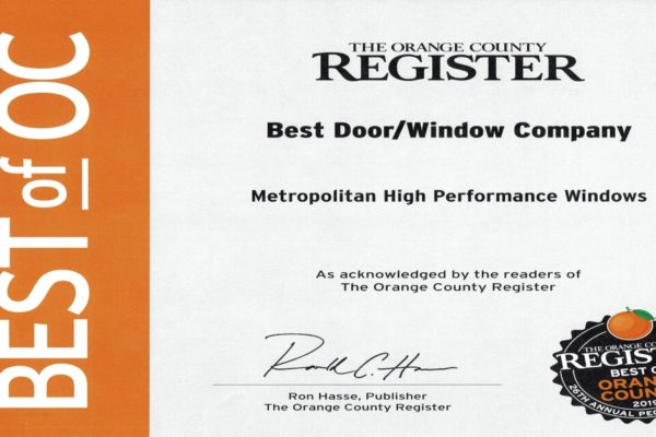 "Metropolitan Earns ""Best of Orange County 2019: Best Door & Window Company"" Award"