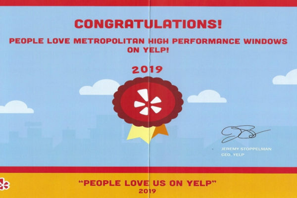 "Metropolitan High Performance Windows Earns ""People Love Us On Yelp!"" 2019 Award"