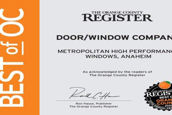 """Metropolitan Is Named Orange County's """"Best Door and Window Company"""""""